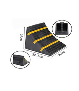 Rubber wheel chock for small to mid-size trucks